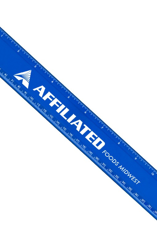 Plastic Ruler with Imprint Blue